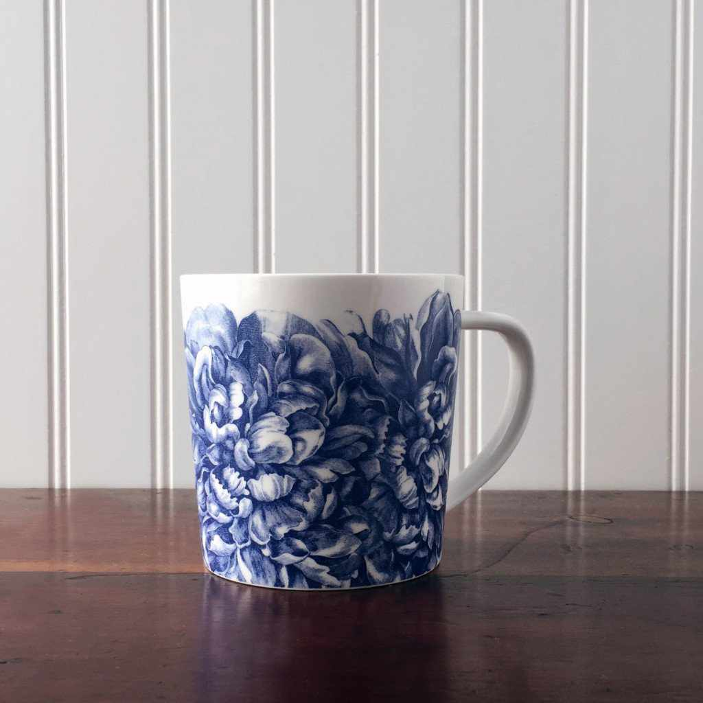 Peony Blue Wide Coffee Mug