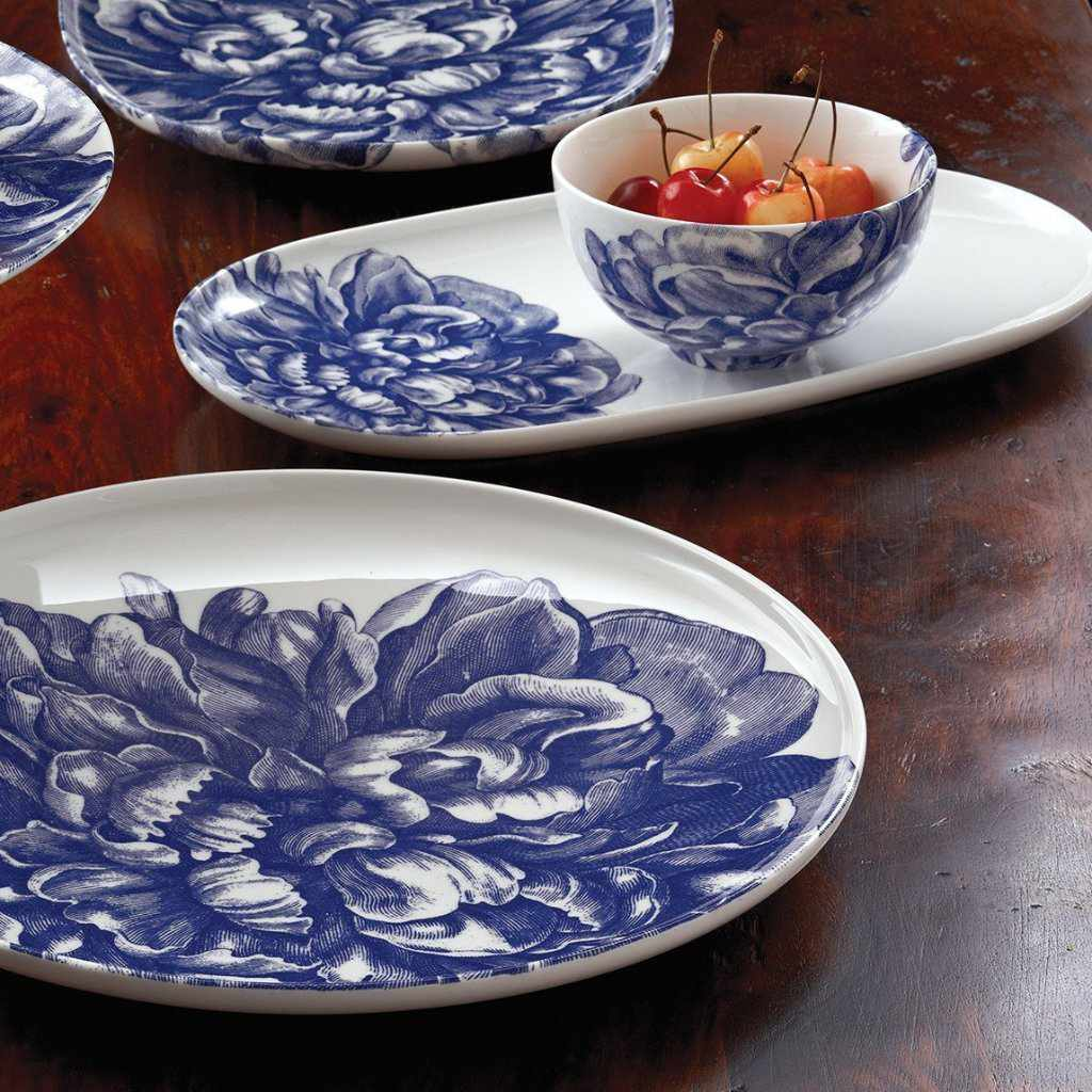 Peony Blue Coupe Round Platter, Small Coupe Oval Platter and Snack Bowl