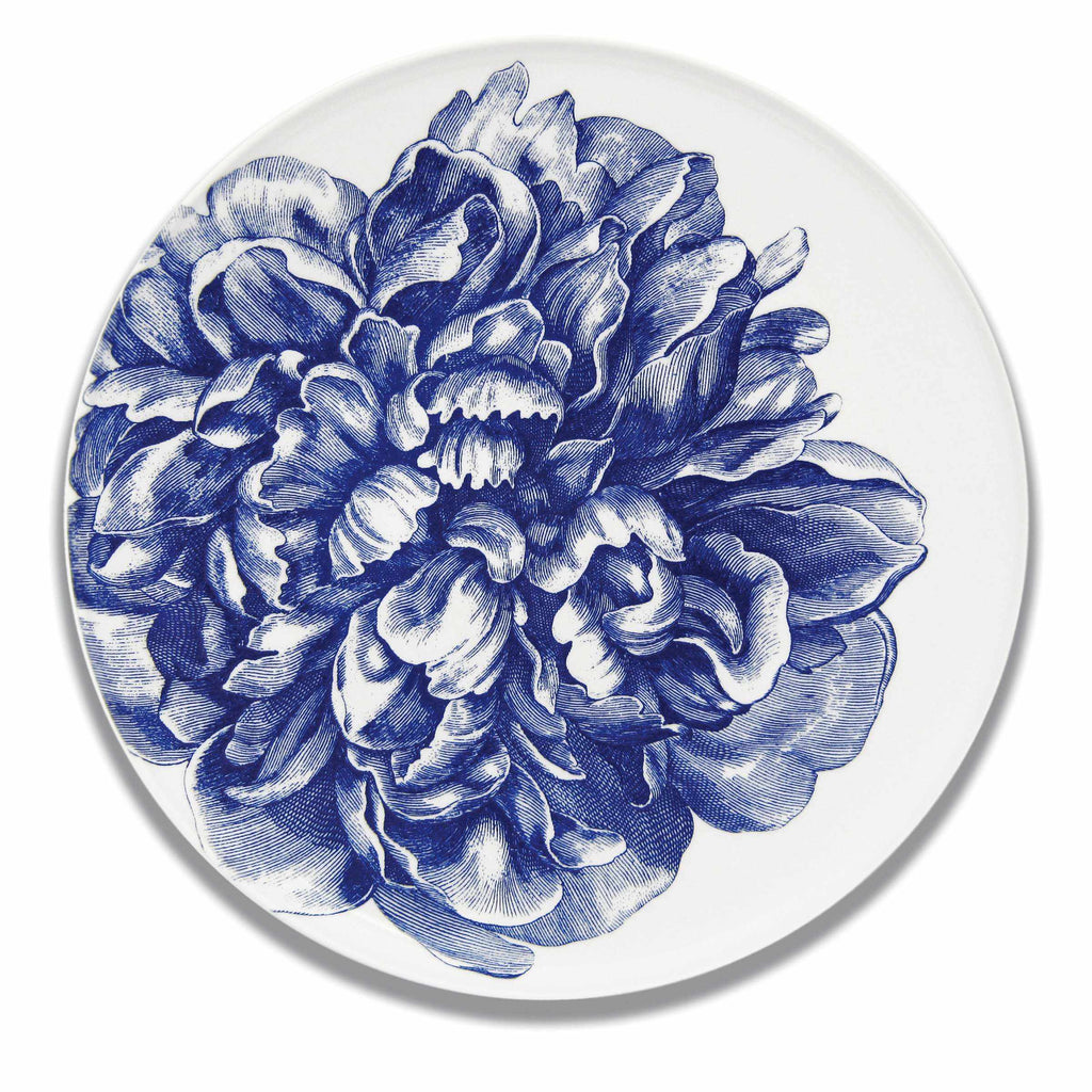 Peony Blue Coupe Round Platter