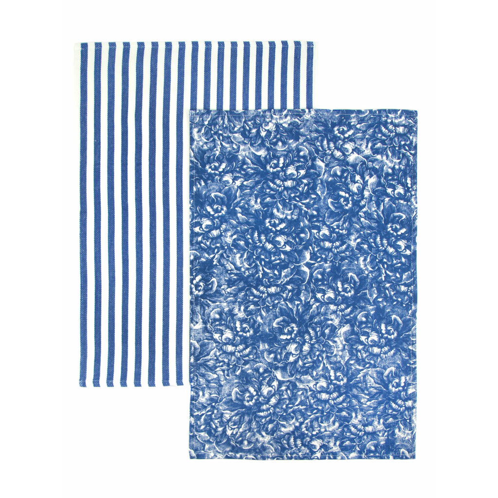 Peony Blue Overall Pattern Cotton Kitchen Towel Paired with Blue and White Stripe Towel Set of 2