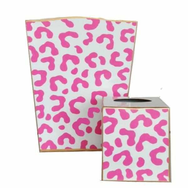 Pink Ocelot Wastebasket and Tissue Box-Room Tonic