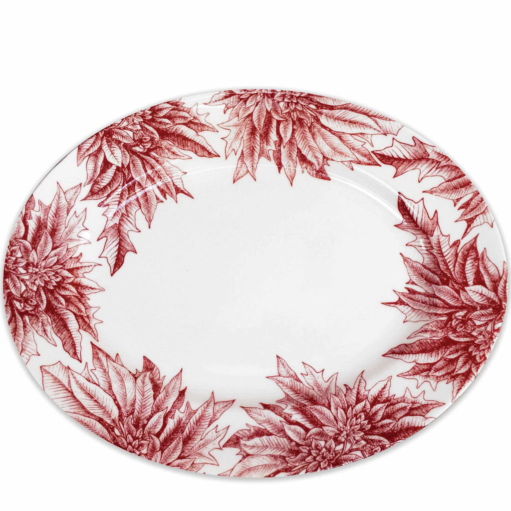 Poinsettia Red Large Rimmed Oval Platter