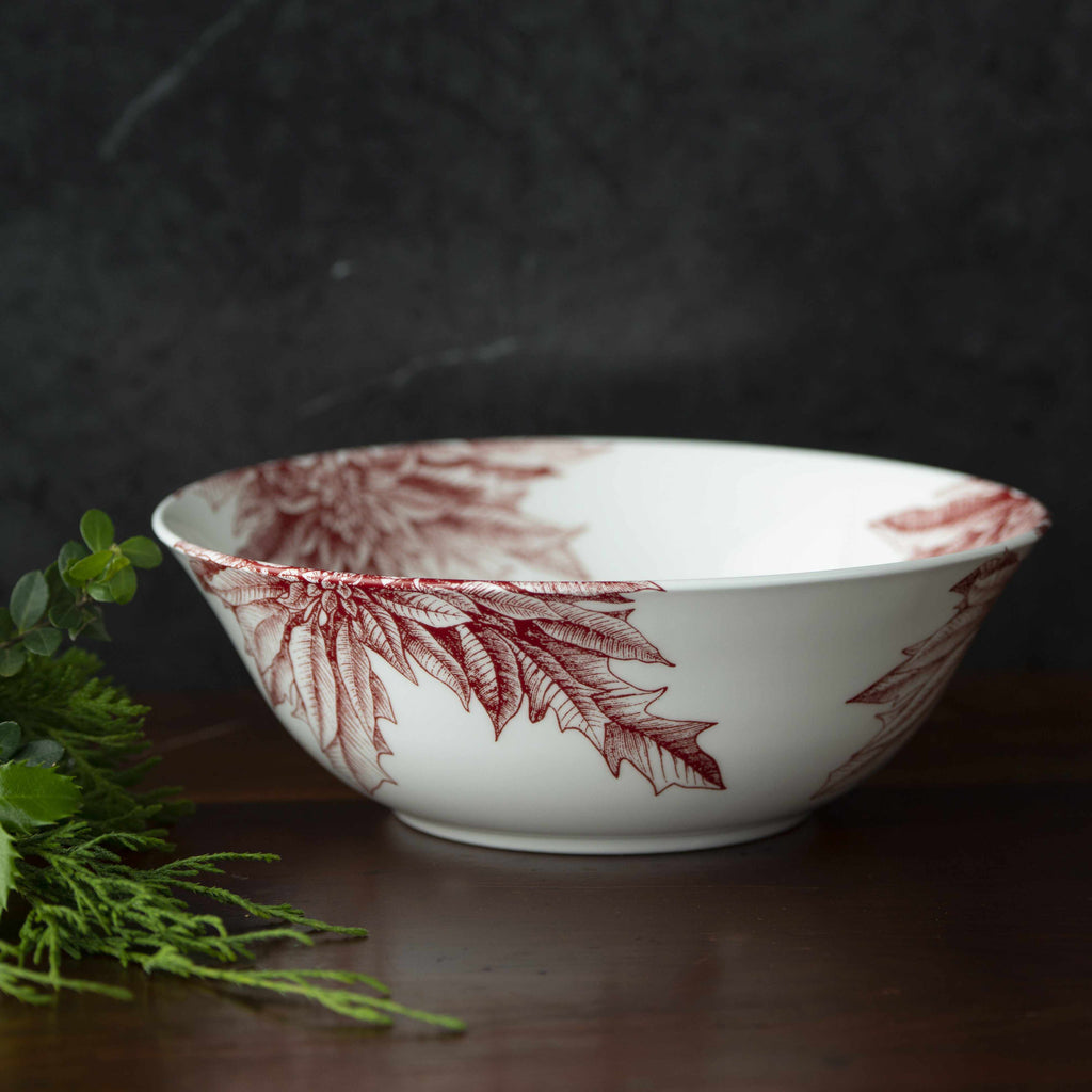 Poinsettia Red Medium Serving Vegetable Bowl
