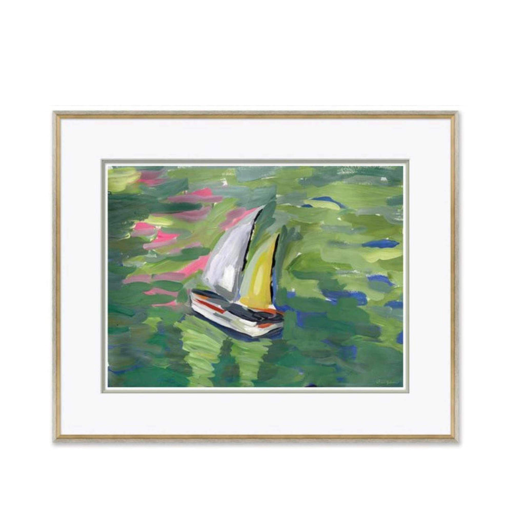 Pond Boat, Pink - Large Giclée Print Matted and Framed DG-19 -0213b