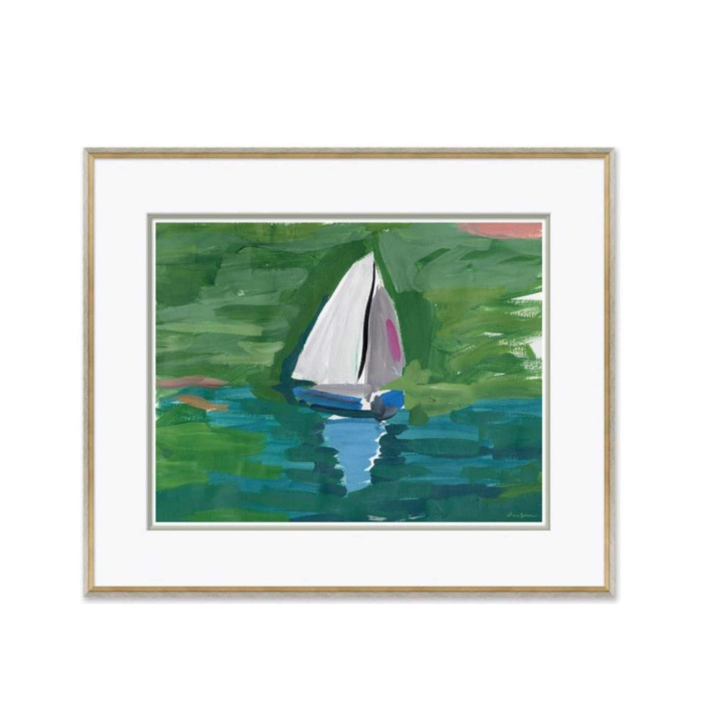 Pond Boats, Blue - Large Giclée Print Matted and Framed DG-19 -0213A