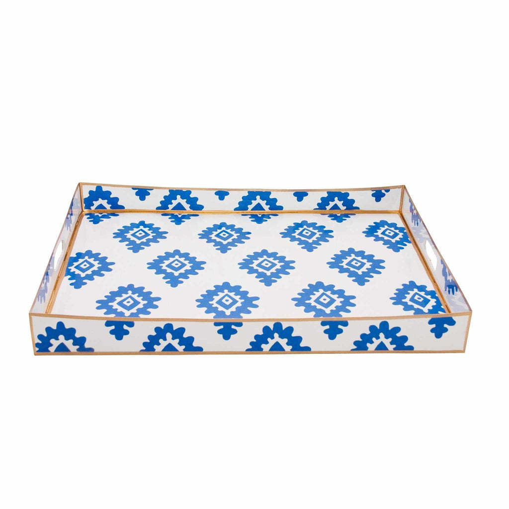 Rectangle Serving Tray in Navy Block Print-Room Tonic