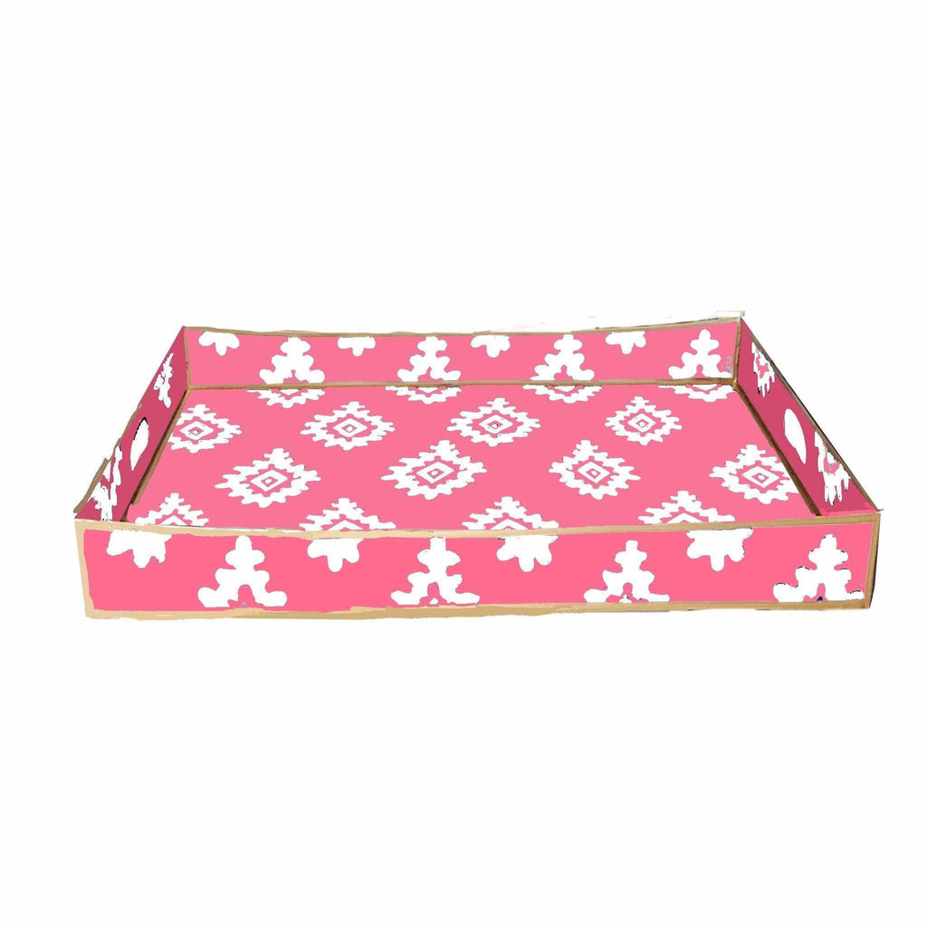 Rectangle Serving Tray in Pink Block Print-Room Tonic