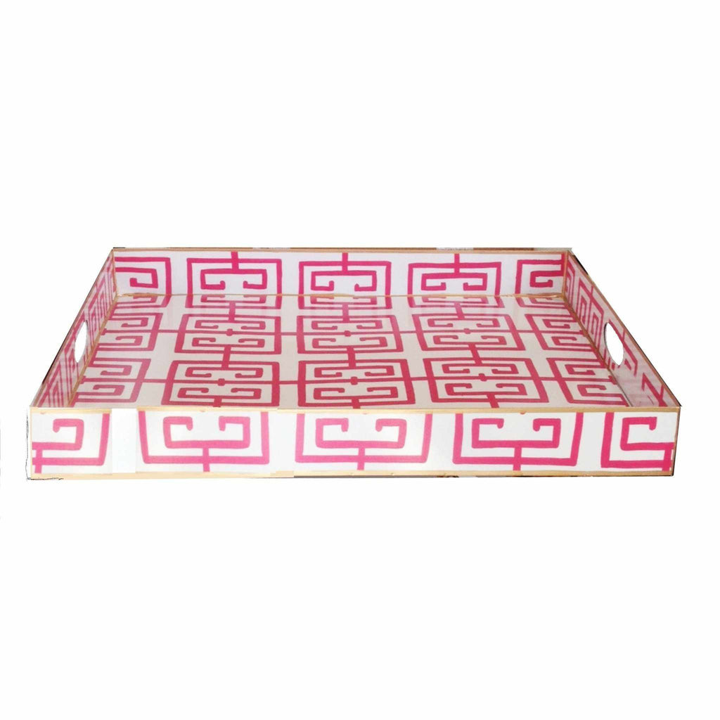 Rectangle Serving Tray in Pink Fret-Room Tonic