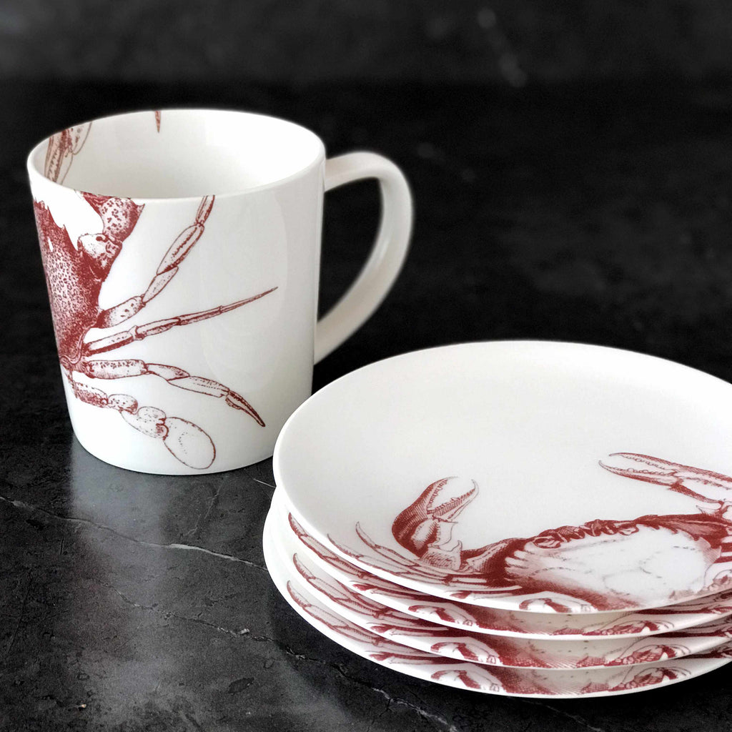 Red Crab Wide Coffee Mug and Appetizer Plates set of 4