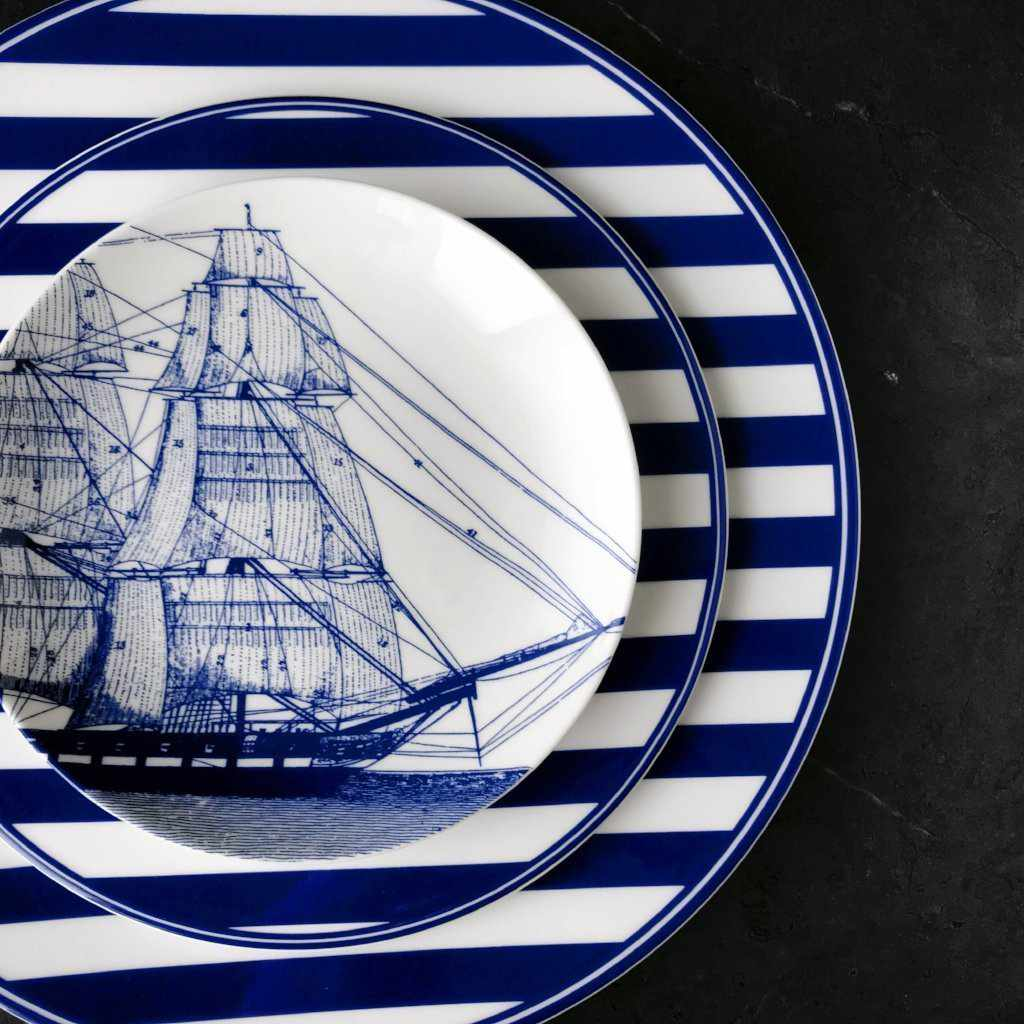 Rigging Blue Appetizer Plate with Beach Towel Salad and Dinner