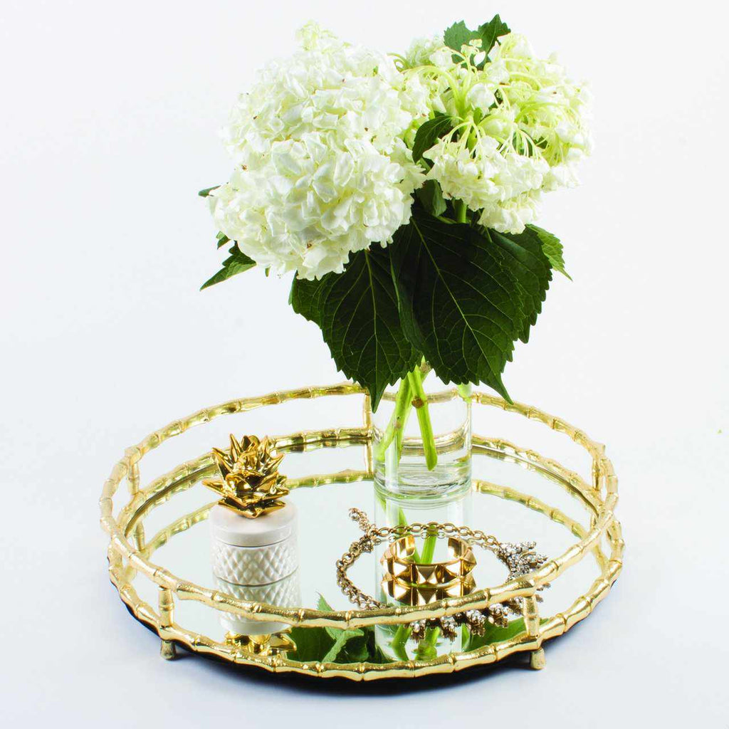Round Mirror Golden Bamboo Tray-Room Tonic