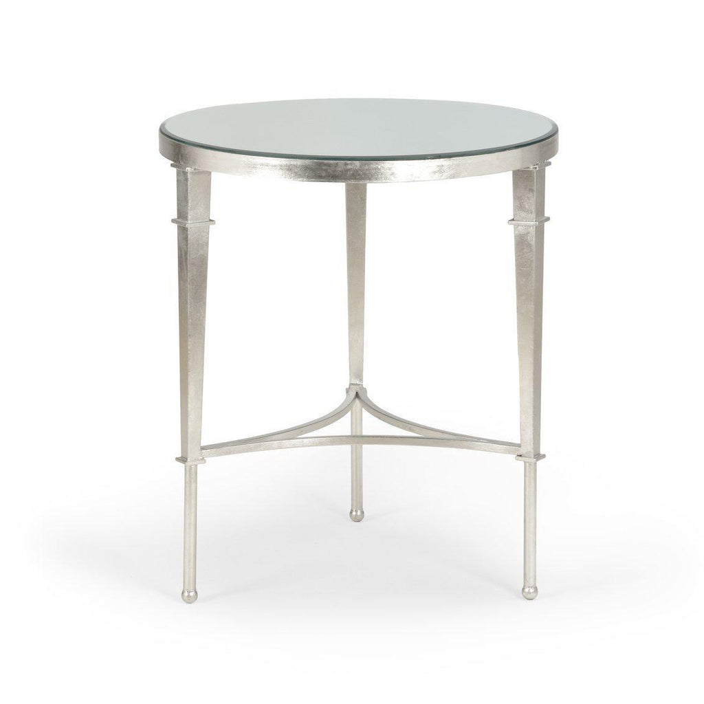 Round Regent Side Table with Silver Leaf Finish-Room Tonic