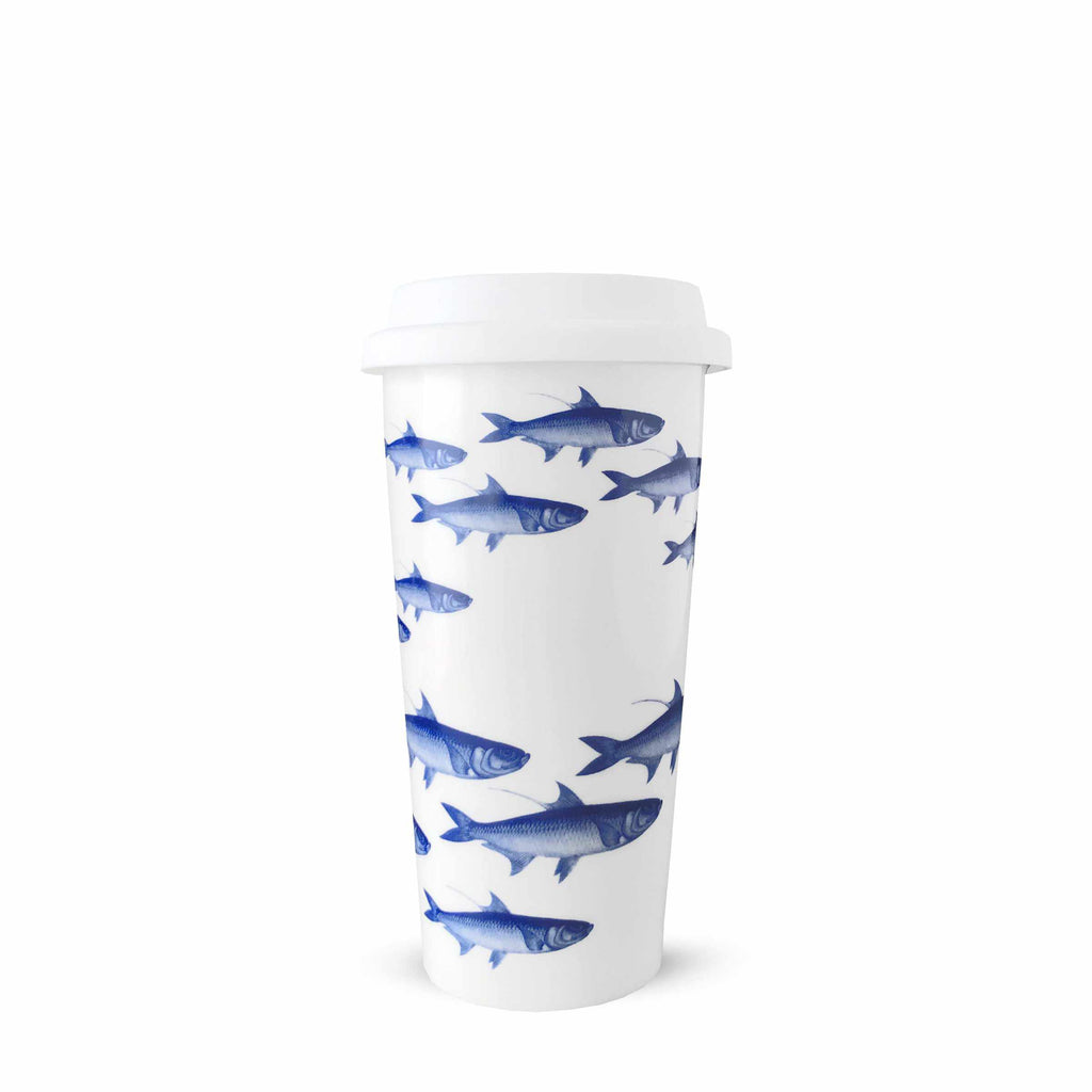 School of Fish Blue Insulated Travel Mug