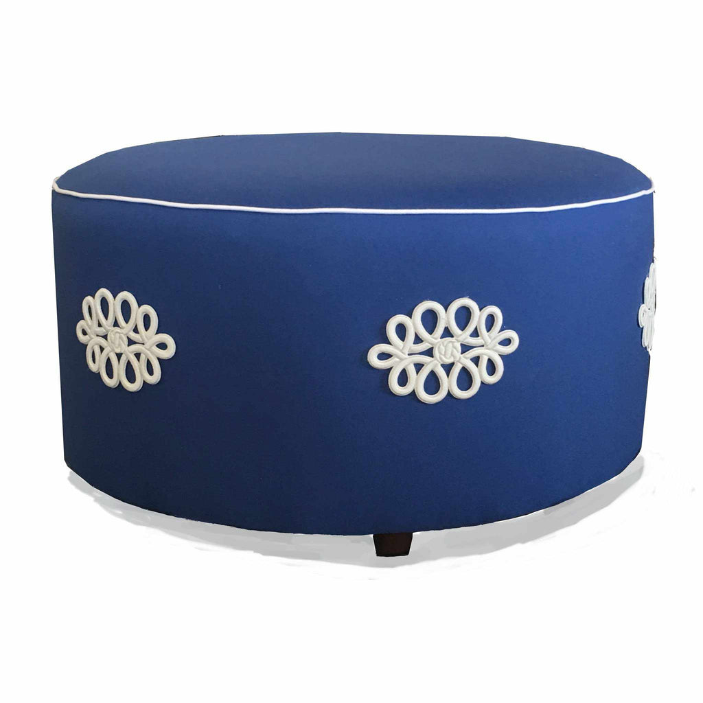 Shang Knot Ottoman in Navy-Room Tonic