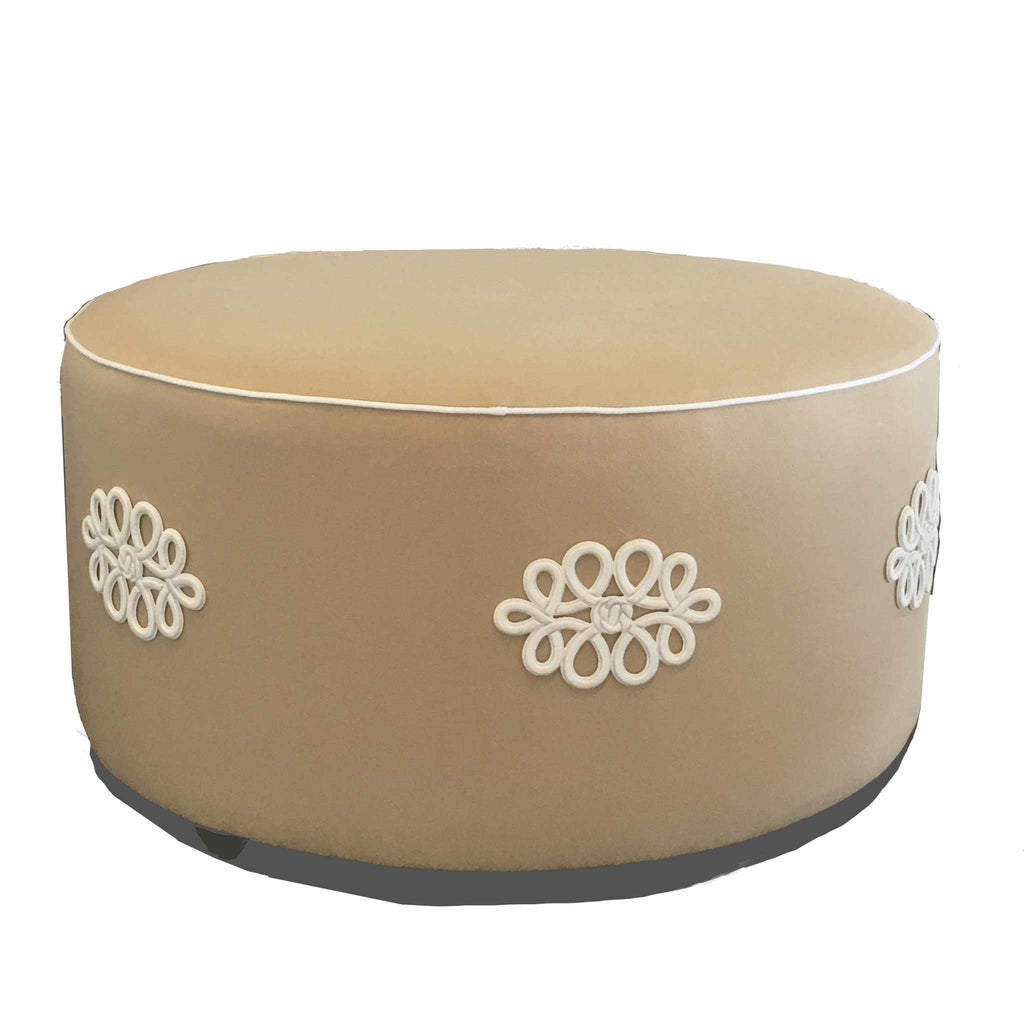 Shang Knot Ottoman in Taupe 5001-T