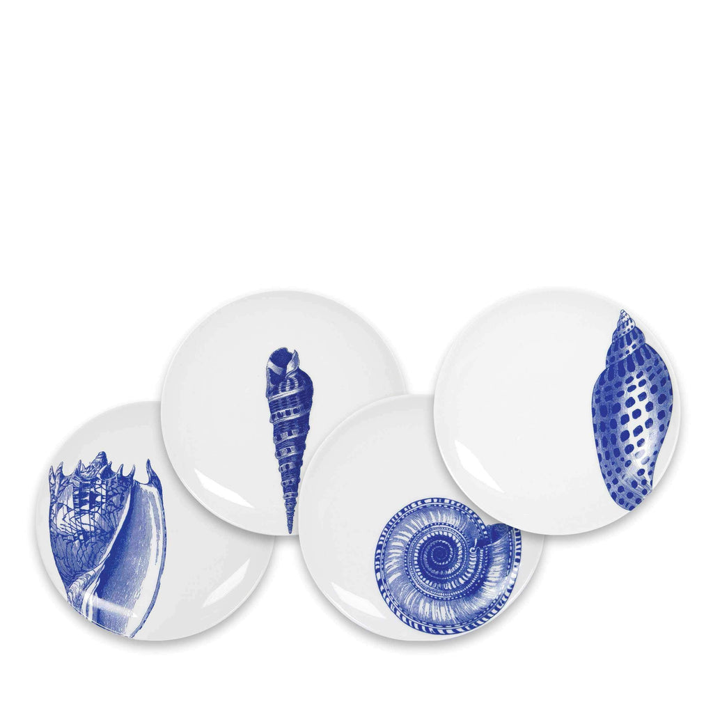 Set of 4 Mixed Shells Canapes in Blue and White