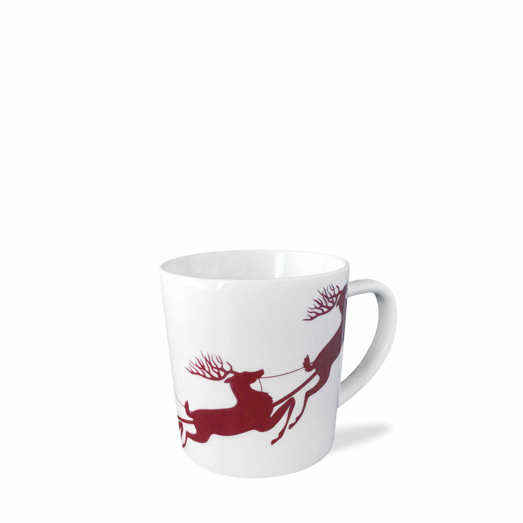 Santa Sleigh and Reindeer Red Wide Mug
