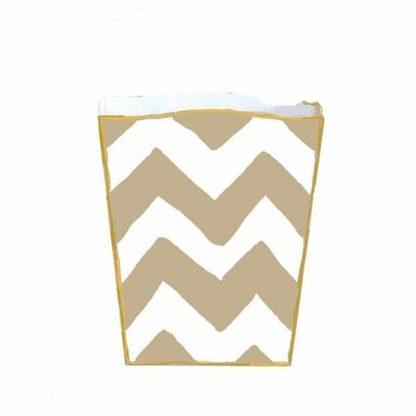 Taupe Bargello Wastebasket-Room Tonic