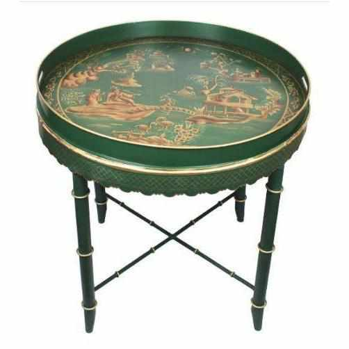 Tray Table Moss Green & Gold-Room Tonic