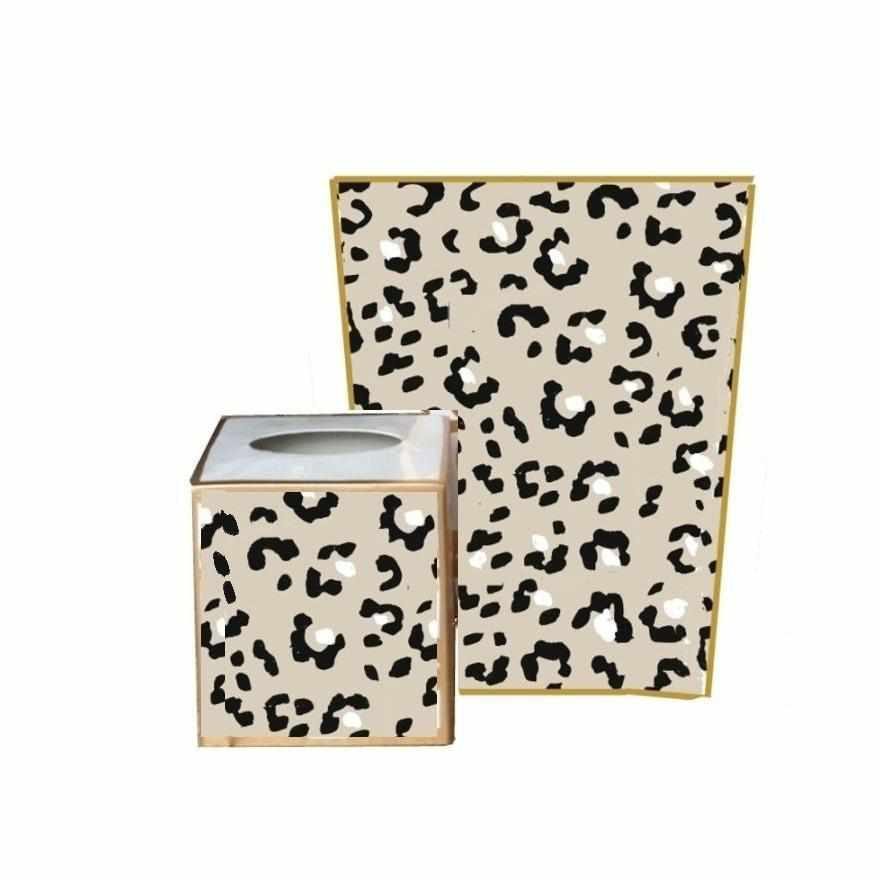 White Leopard Wastebasket, Tissue Box sold separately.-Room Tonic