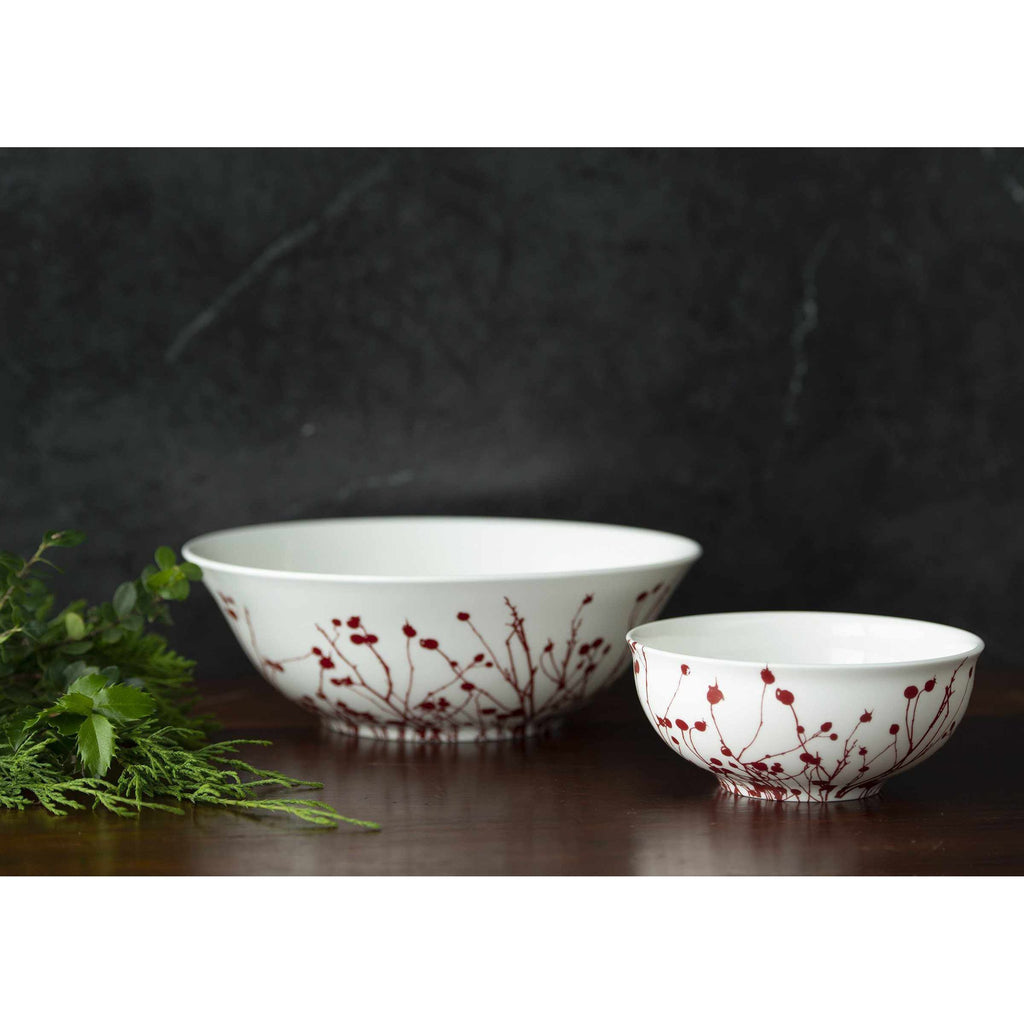 Winterberries Red Cereal Soup Salad Bowl and Medium Serving Bowl