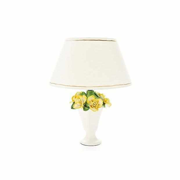 Yellow Rose Lamp with White Shade #3082-W