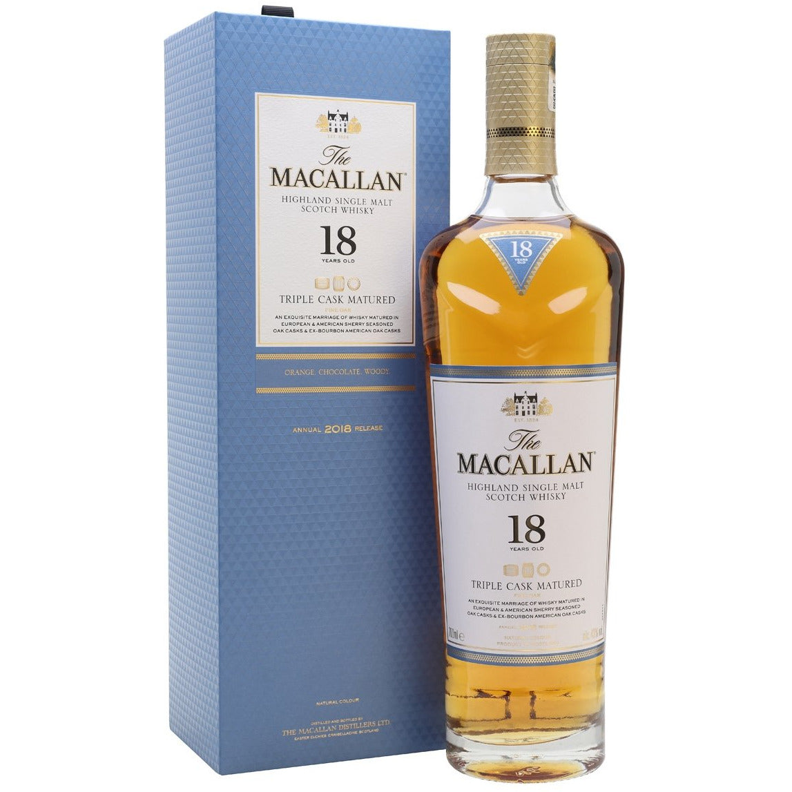 The Macallan 18 Year Triple Cask Matured Highland single Malt Scotch Whisky (750ML)