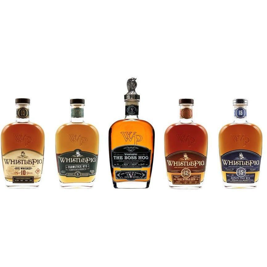 WhistlePig Collection Set 5 Pack - (Includes: THE BOSS HOG V: THE SPIRIT OF MAUVE) (3.75 L)