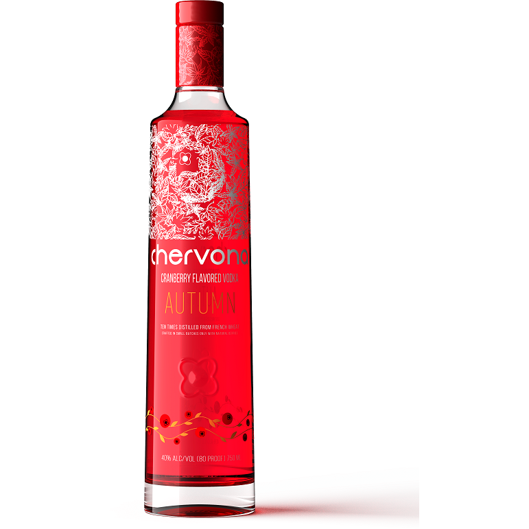 CHERVONA AUTUMN - 80 PROOF Cranberry Infused Sipping Vodka 750 mL