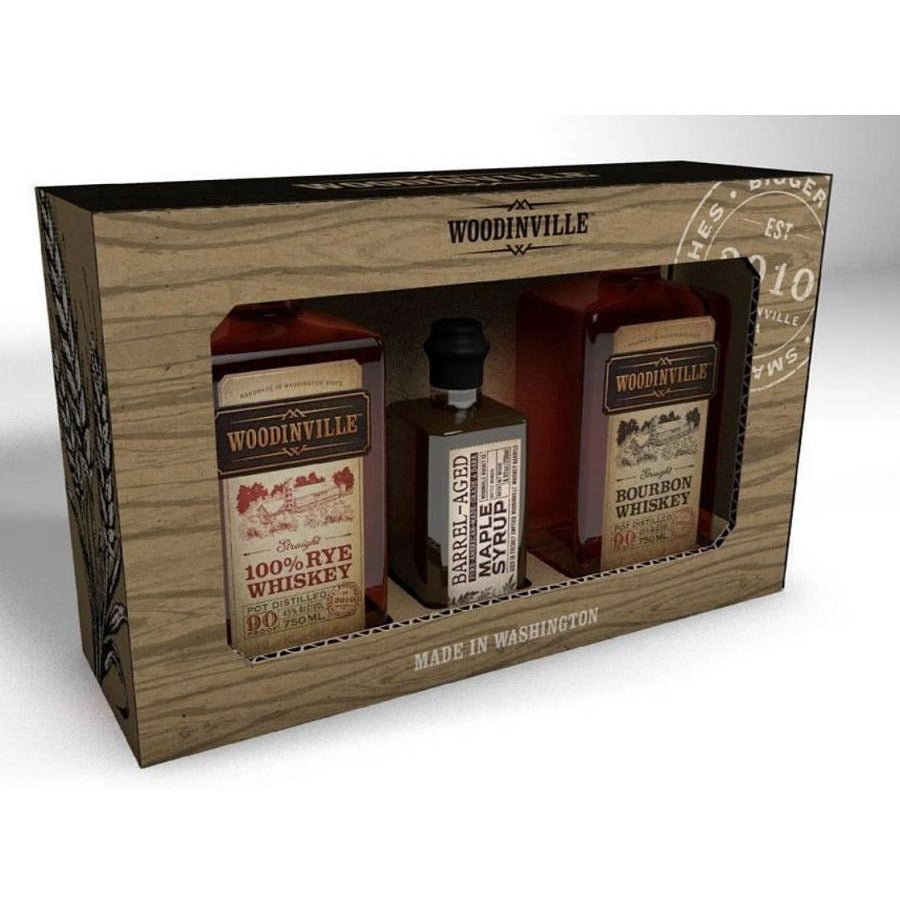 Woodinville Bourbon 750ml, Rye 750ml, and Maple Syrup Gift Set