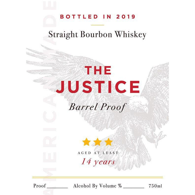 The Justice 14 Year Barrel Proof Straight Bourbon Whiskey 750 mL