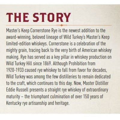 Wild Turkey Master's Keep Cornerstone Rye 750 ML
