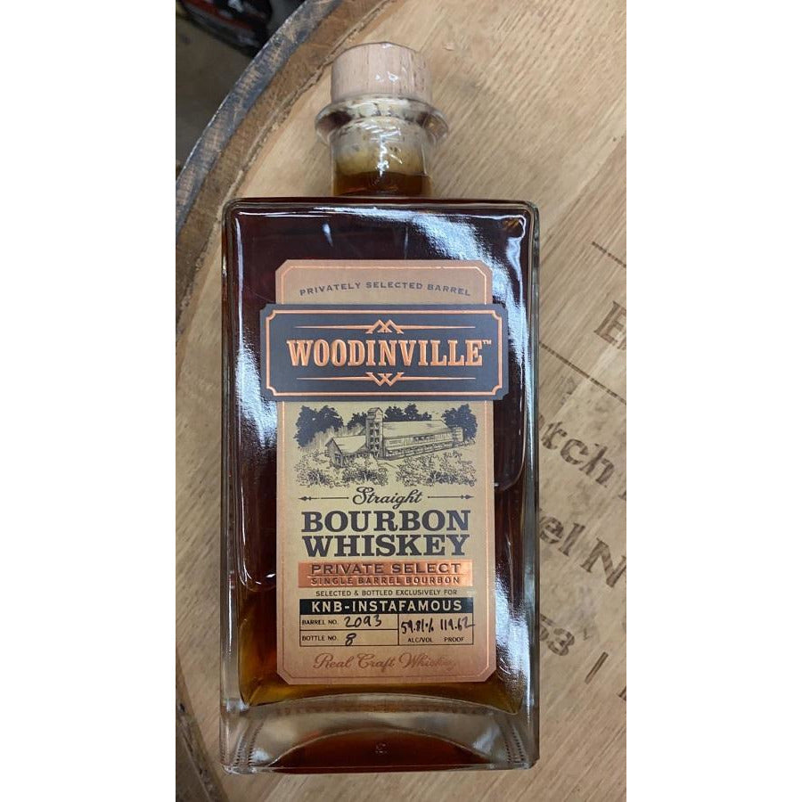 Woodinville Straight Bourbon Whiskey KNB-Instafamous Keg N Bottle Barrel Pick 750 mL