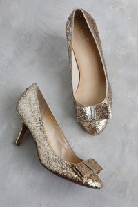 Kate Spade Gold Sparkle Bow shoes