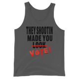 THEY SHOOTIN TANK TOP / BLACK & RED INK