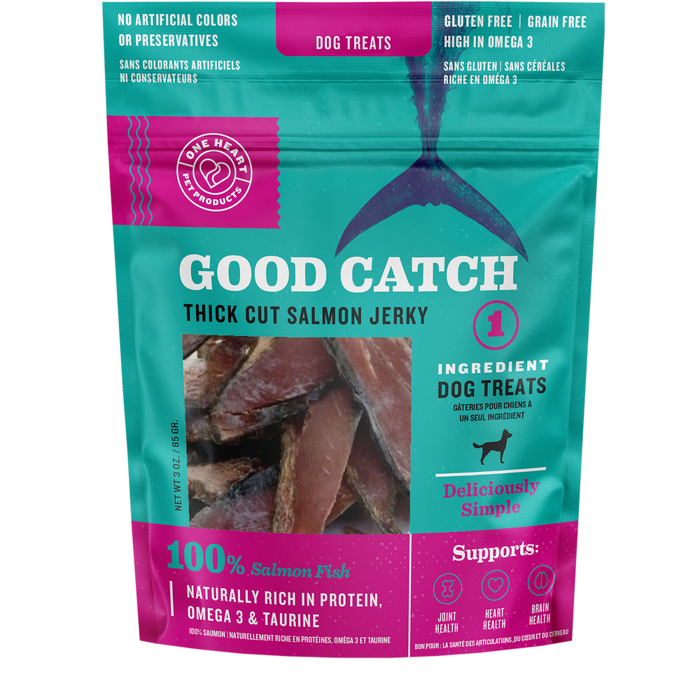 Good Catch Thick Cut Salmon Jerky (3 oz) - One Heart Pet