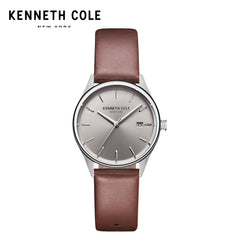 Kenneth Cole Women Watches Quartz Brown Black Leather Strap Simple Luxury Brand Waterproof Genuine Watches For Women