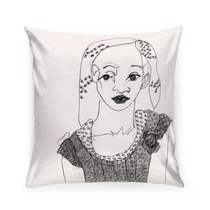 Girl with Roses Pillow
