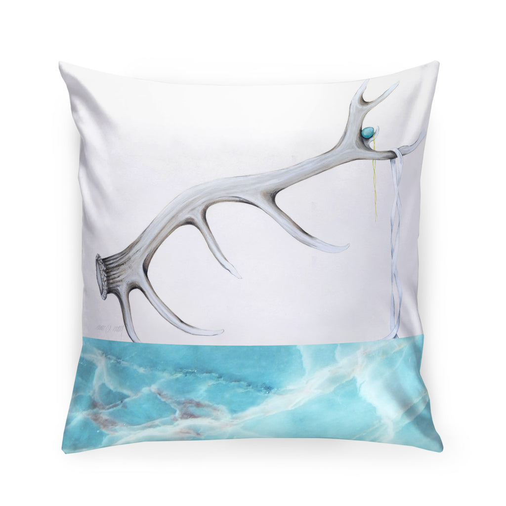 Elk Shed Pillow Turquoise - Charcoal Velvet