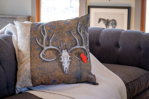 Deer Skull Pillow- Maui Sand