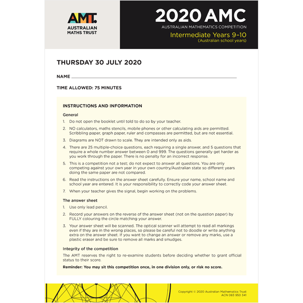 AMC 2020 Intermediate