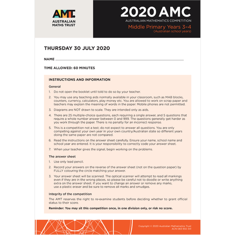 AMC 2020 Middle Primary
