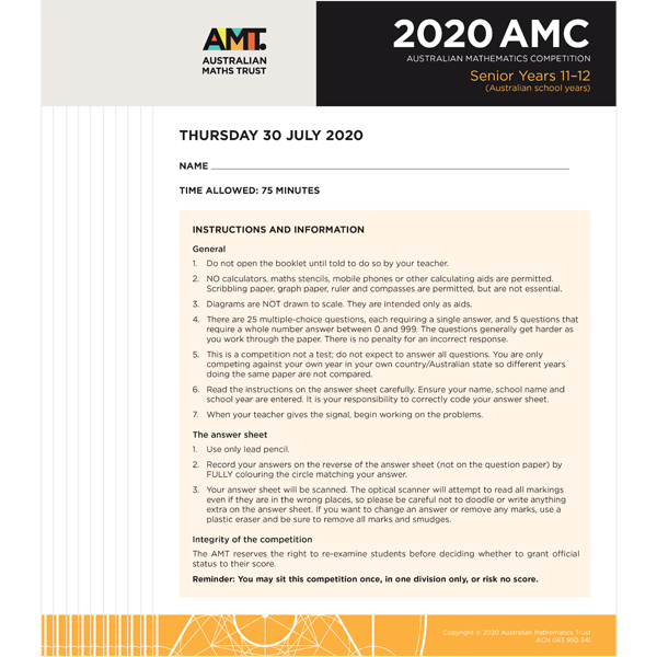 AMC 2020 Senior school set