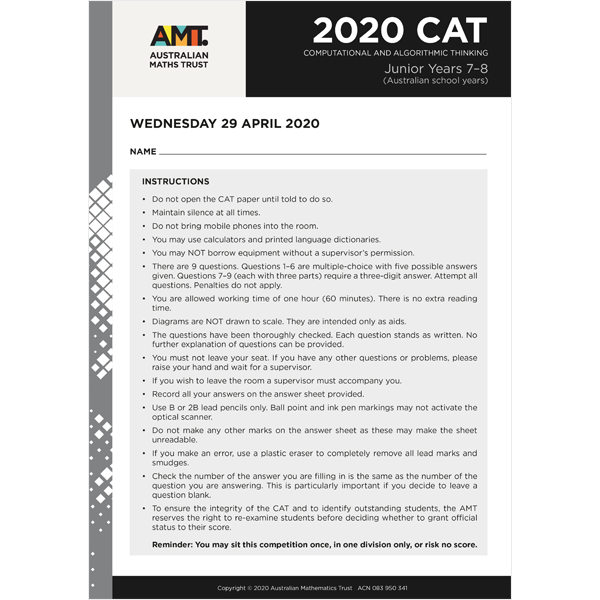 CAT 2020 Junior