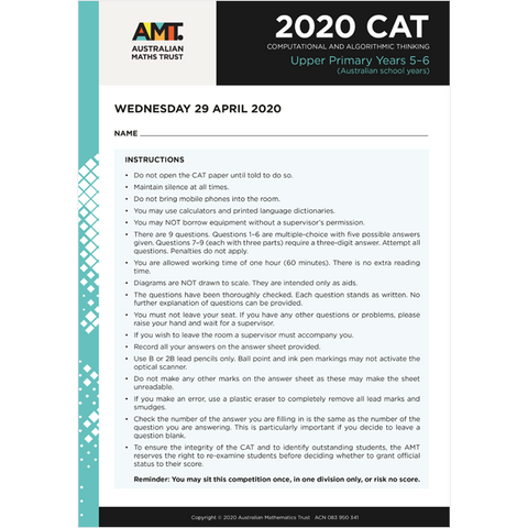 CAT 2020 Upper Primary