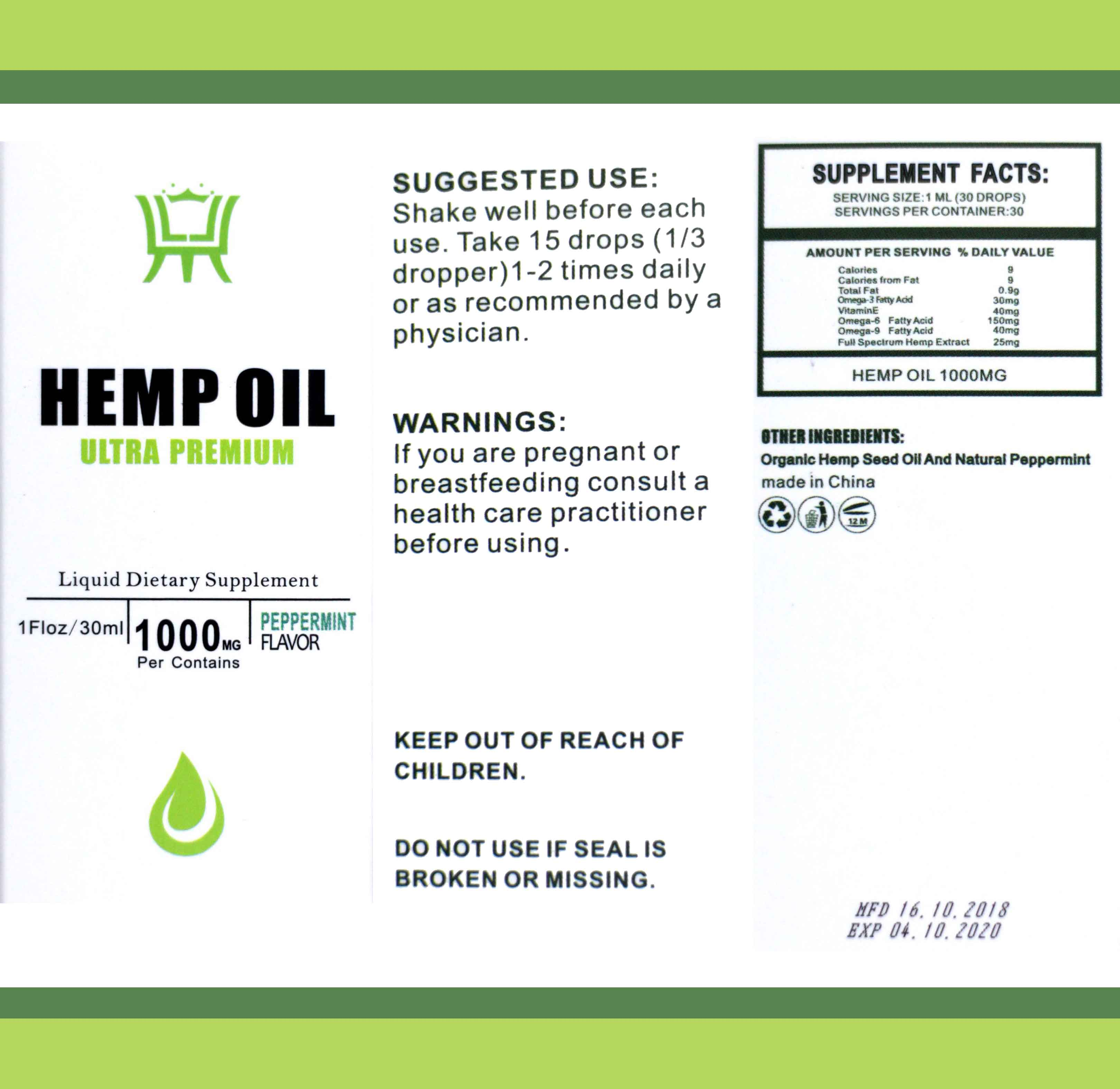Hemp Oil 1000mg All Natural