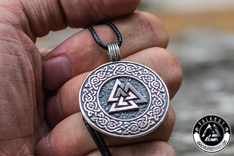 Viking Jewelry valknut symbol with viking ornament pendant necklace 925 sterling silver