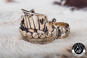 Legendary Viking Longship Ring, Bronze