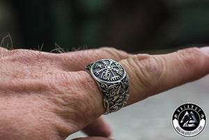 The Viking Compass - Vegvísir Ring, 925 Sterling Silver