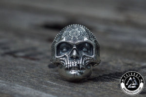 Vintage Flower Skull Ring, 925 Sterling Silver